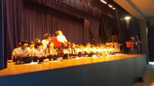 i bambini eseguono il brano con il flauto...